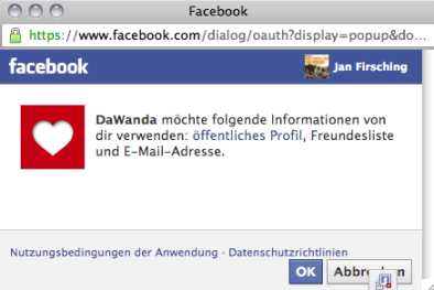 Facebook Login Onlinehandel - Bsp. DaWanda