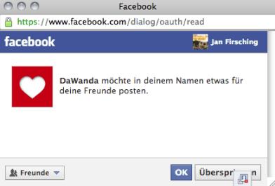 Facebook Login Onlinehandel - Bsp. DaWanda Open Graph