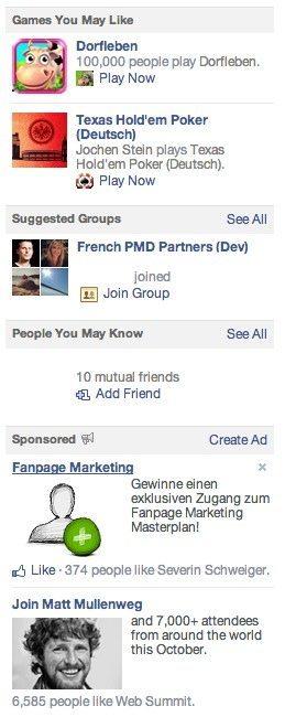 Facebook Anzeigen rechte Spalte - alte Version