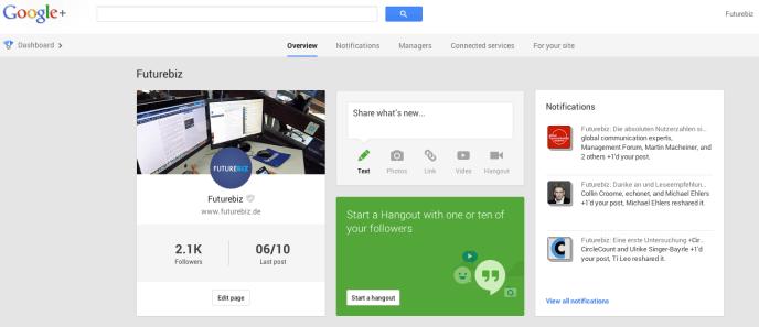 Google+ Dashboard für Seiten