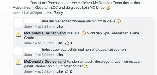 Community Management Case McDonald's Deutschland - Kommentare