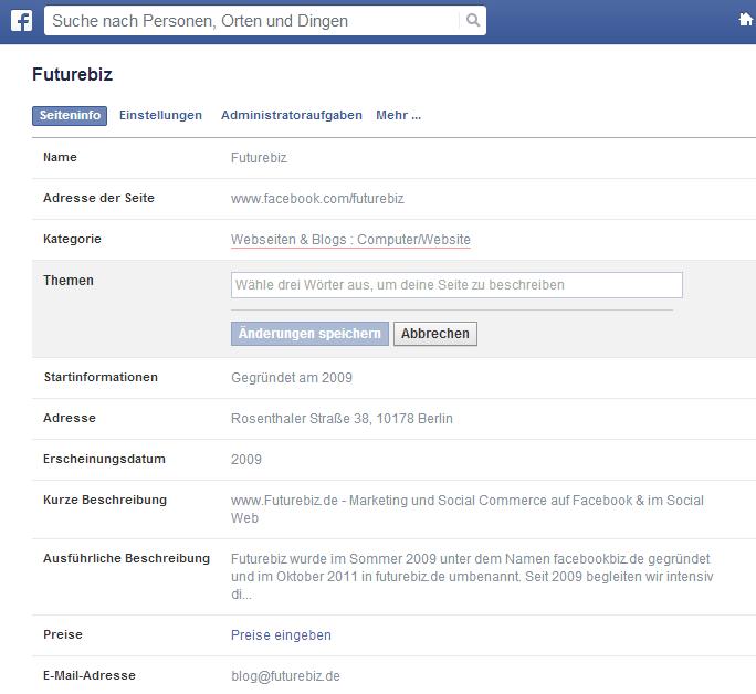 Facebook Seiten - Update Administrationsbereich