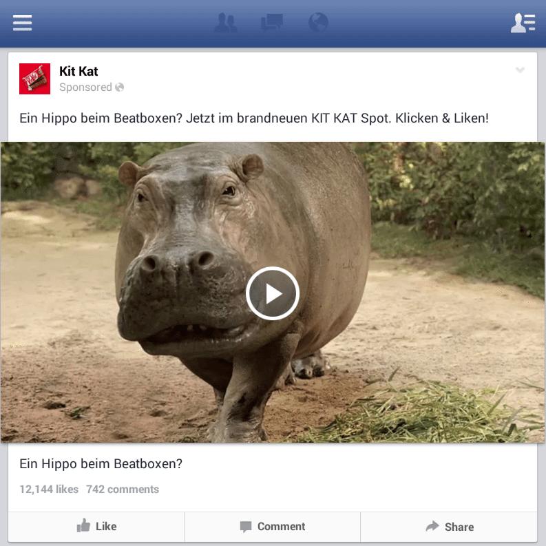 Facebook Videoanzeigen - News Feed Kit Kat Deutschland