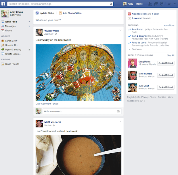 Neuer Facebook News Feed 2014