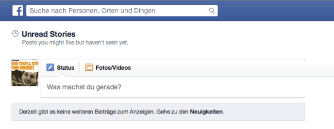Content Discovery auf Facebook - Unread Stories