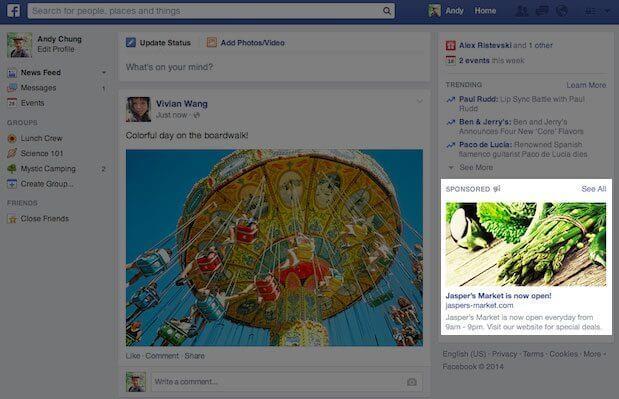 Facebook Anzeigen - Größere Darstellung von Anzeigen in der rechten Spalte