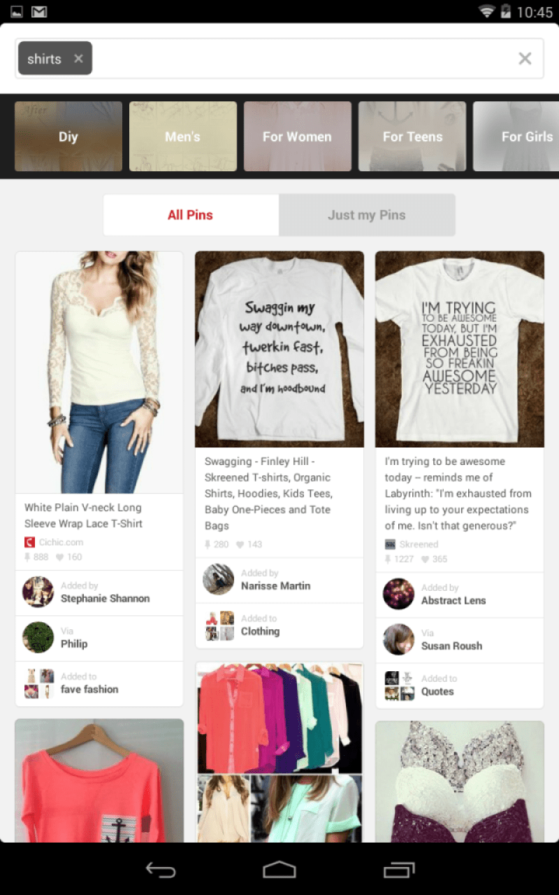 Pinterest Suche - Guided Search Fashions