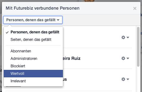 Facebook Fans von Seiten - Unterteilung in Wertvoll und Irrelevant