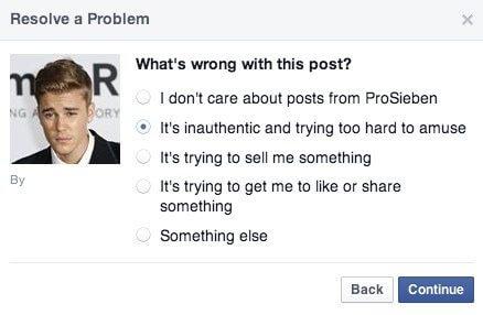 Facebook Seiten - Negatives Feedback per Facebook Direktnachrichten übermitteln 2