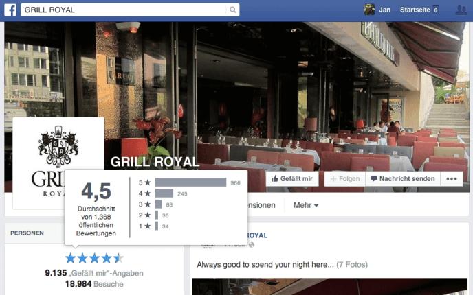 Facebook Bewertungen - Mehr öffentliche Bewertungen als bei Yelp