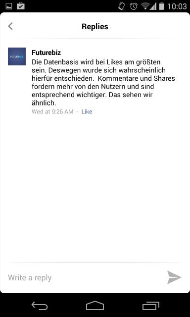 Facebook Antwortfunktion für Kommentare in mobile Apps - Darstellung Antworten