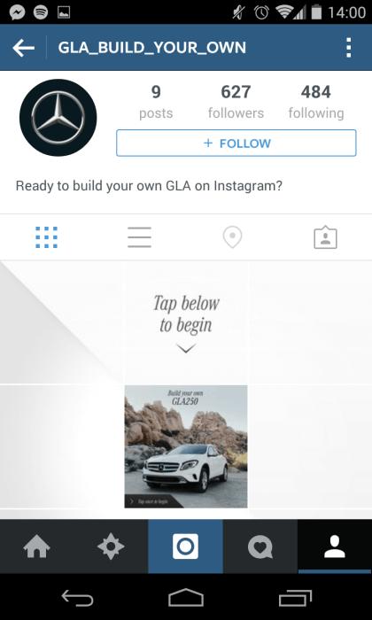 Instagram Kampagne - Mercedes Auto-Konfigurator II