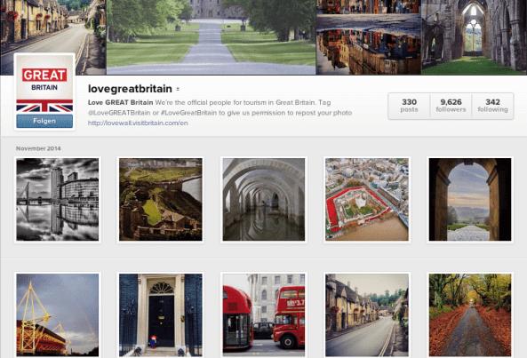 Instagram für die Tourismusbranche - Wie Love GREAT Britain die Instagram Community für sich einsetzt