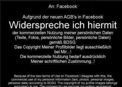 Facebook Hoax AGB Beispiel