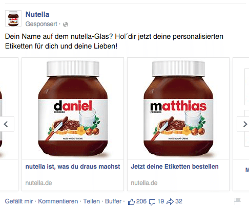 Facebook Multi Product Ads - Beispiel Nutella 2