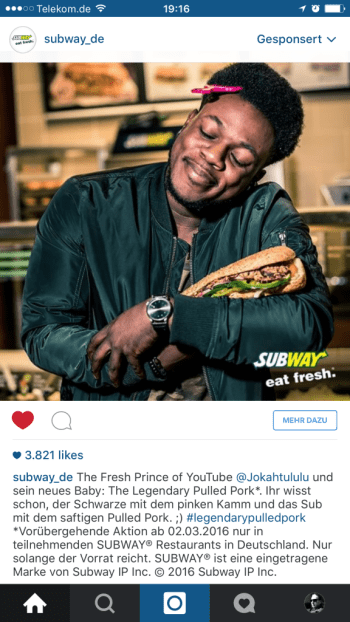 Influencer Marketing trifft auf Intagram Marketing - Subway Deutschland