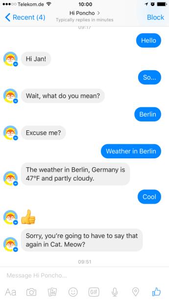 Facebook Messenger Bot Poncho II