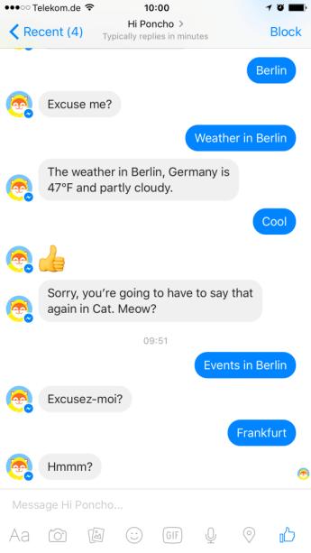 Facebook Messenger Bot Poncho III