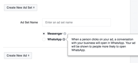 Facebook Anzeigenziel - Messages WhatsApp und Messenger