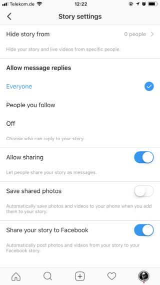 Instagram Stories als Facebook Story veröffentlichen