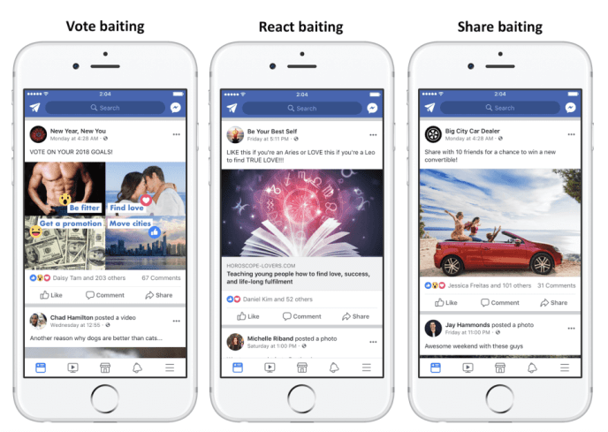 Facebook News Feed Algorithmus -Reaction Votings Markiere einen Freund