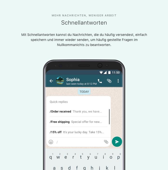 WhatsApp Business App: Unternehmensprofile, Statistiken & Nachrichten