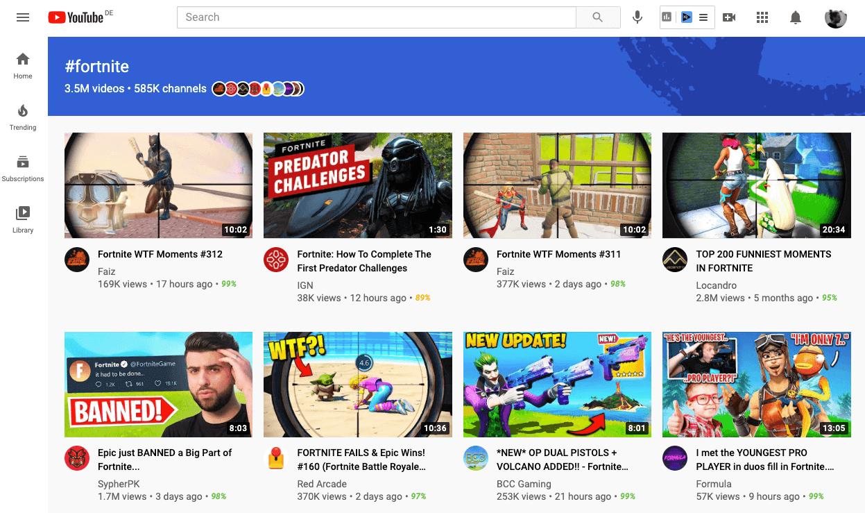 YouTube-Hashtag-Seiten-Suche