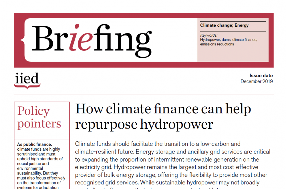 Climate finance, hydropower and the transition to a low-carbon future
