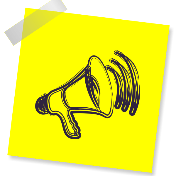 Megaphone drawn on a sticky note representing word of mouth marketing