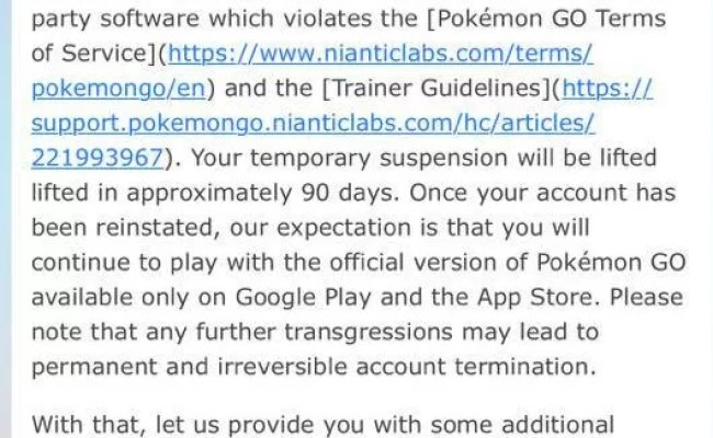 Niantic Confirmed Lock Ban Will Be Lifted After 90 Days