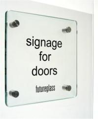 Glass door signage made to order from glass.