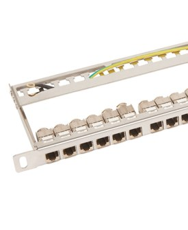 0.5U Unloaded Keystone Patch Panel with earth cable