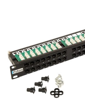 1U 48 Way Cat 5e Patch Panel with rack snaps