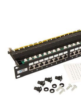 Cat 5e Shielded Patch Panel and rack snaps