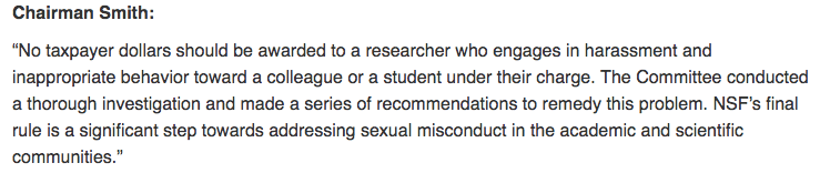 Sexual harassment policies at NSF and NIH