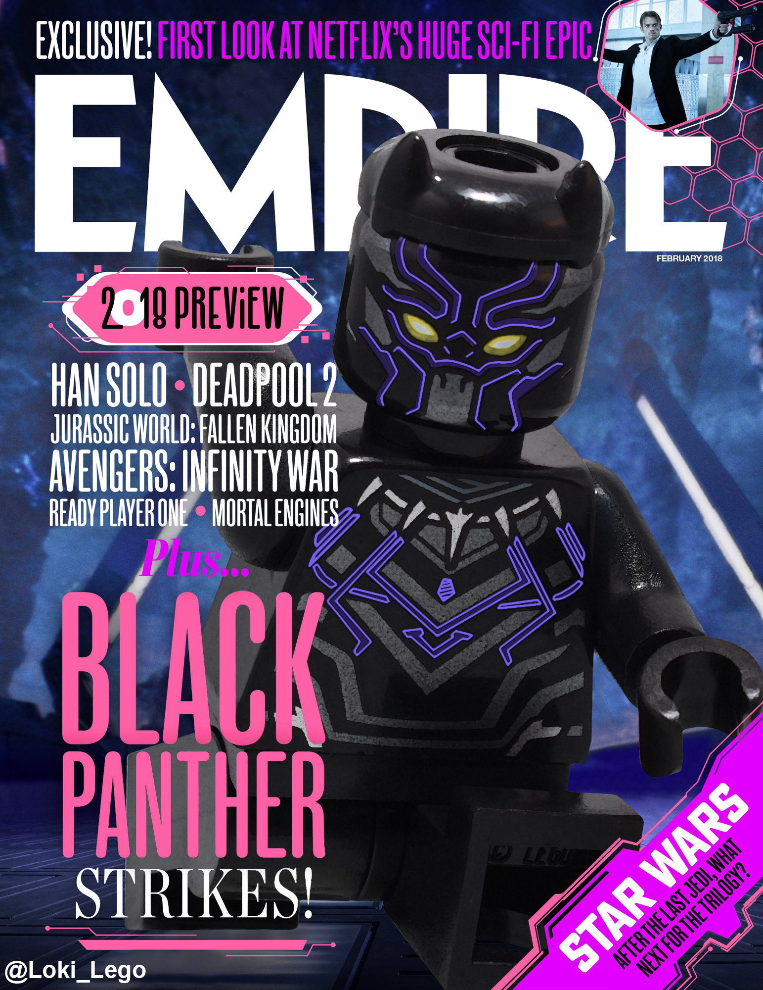 Black Panther Empire Magazine Cover Recreated in LEGO
