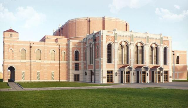 Rendering of the East facade of the new opera house at Rice University, by Allan Greenberg