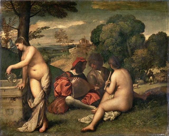 Titian: Pastoral Concert, c. 1510. With its complex yet quasi-improvised structure, both in terms of the flat surface and its three-dimensional depth, it looks like a slow middle movement of a Mozart symphony. (I always wondered why the guys in this painting, obviously discussing the music, don't pay the slightest attention to the ladies, who do so much their best to distract them.)