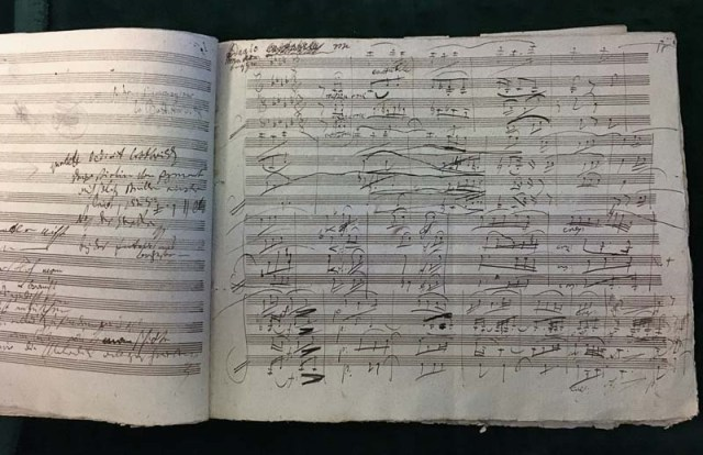 "The manuscript of Beethoven's ""Harp"" Quartet."