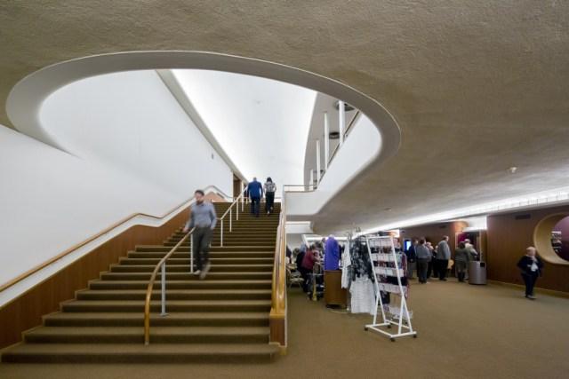 Staircase to second-level lobby. <i>Image credit:</i> Bilyana Dimitrova.