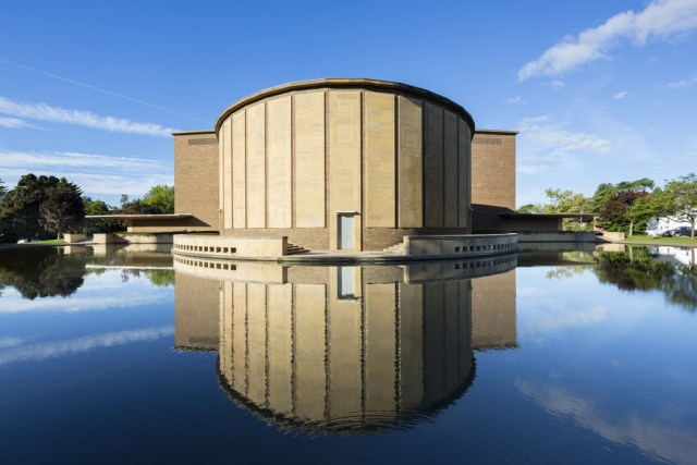 The chamber music hall as viewed from across the reflecting pool. <i>Image credit:</i> Bilyana Dimitrova.