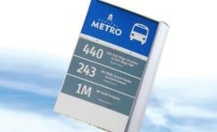 close up of an Austin Texas bus stop sign.