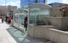 side view of Winnipeg Protector bus shelter.