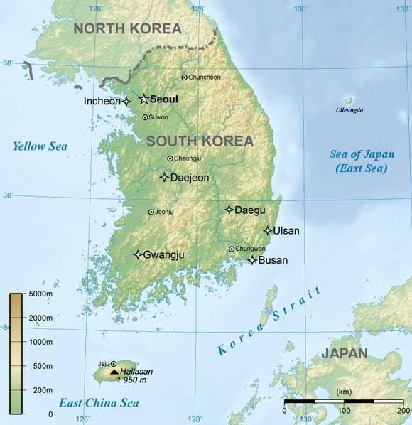 2012 timeline of events south korea map