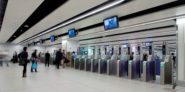 Ffacial recognition technology at Gatwick Airport.