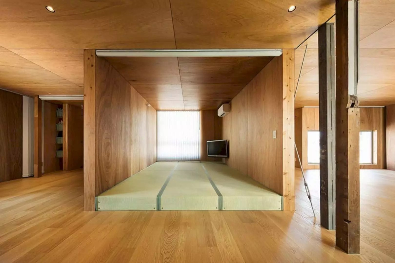 Sequence of Plywood Boxes inside House in Nobeoka  Futurist Architecture