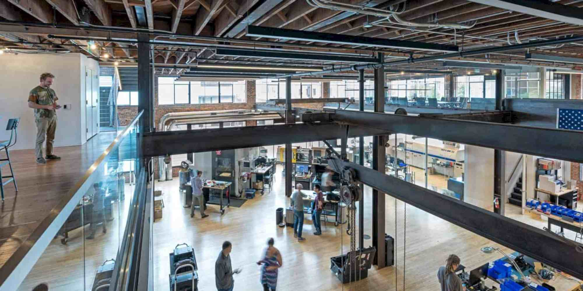 Buzzell Building: Modern Interior of Prototyping Studio with Two-Story Mezzanine Structure