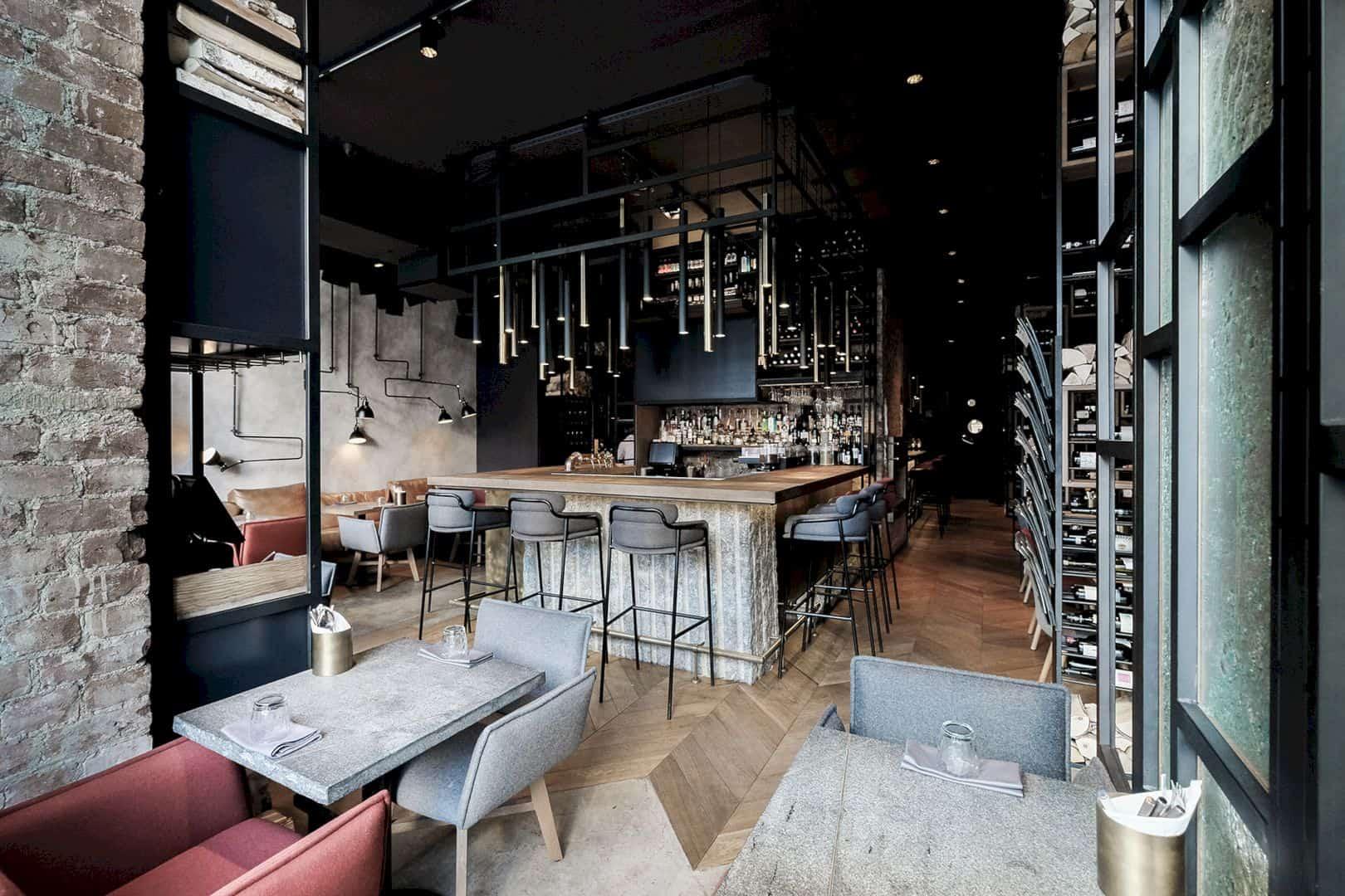 GASTROLI Bar & Kitchen: Contemporary Interior of A Cool Restaurant with Unique Lighting Design