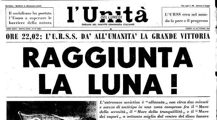 L'Unità con la notizia dell'allunaggio del Lunik II