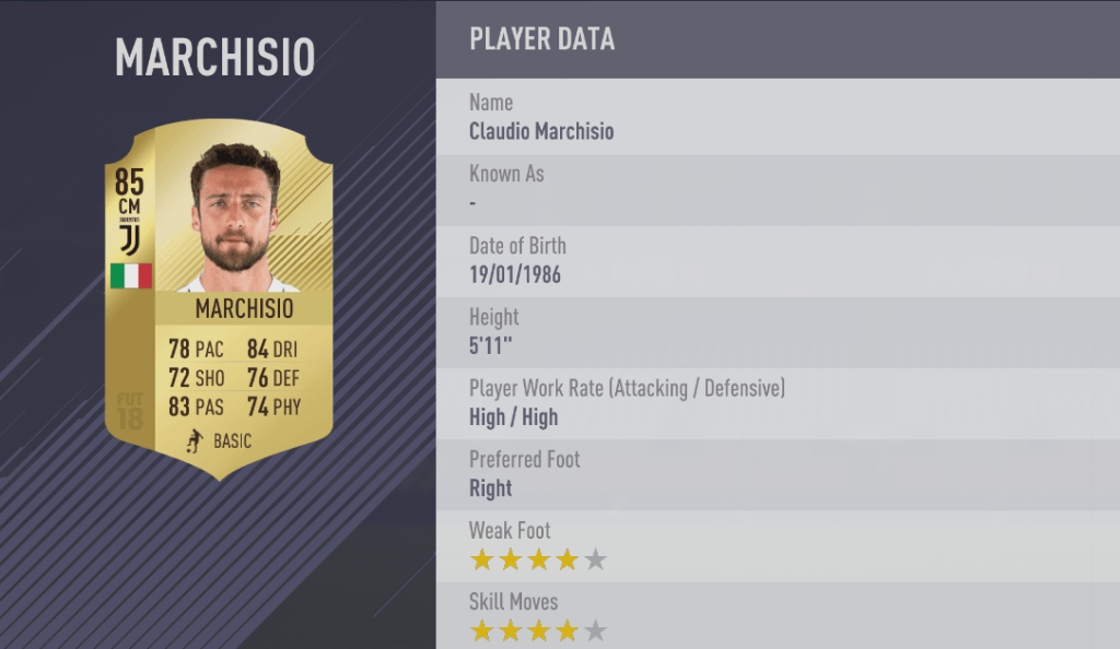 [FIFA18 RATINGS] TOP 100 à 81  Marchisio